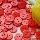 14mm Red Flat Round Buttons Sewing Scrapbooking Cardmaking Craft
