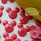 Red  Mickey Shape 20mm Plastic Buttons Sewing Scrapbooking Collectable Craft