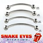 "16g 14g 9/16"" 5/8"" 3/4"" Surgical Steel Curved Barbell Tongue Snake-Eyes Piercing"