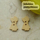Girl 15mm Wood Buttons Sewing Scrapbooking Craft NCB038