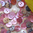 Pink Round 11mm Mother Of Shell Buttons Sewing Scrapbooking Beads Craft
