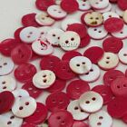 Red Round 11mm Mother Of Shell Buttons Sewing Scrapbooking Beads Craft
