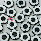 Black 2 Holes 12mm Flower Plastic Buttons Sewing Craft Scrapbooking PCB-A02