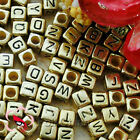 Gold Square Alphabet Letter Acrylic Plastic 6mm Beads G43C9308