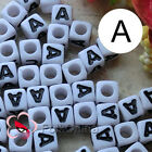 """A"" White Square Alphabet Letter Acrylic Plastic 6mm Beads 37C9308-a"