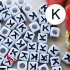"""K"" White Square Alphabet Letter Acrylic Plastic 6mm Beads 37C9308-k"