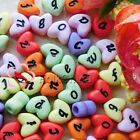 Assorted Solid Color Heart Shape Alphabet Letter 12mm Plastic Beads 39C9729