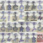 Initial Letters Character Alphabet White AB Crystal Dangle Charms Pendant Beads