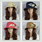 Vacation Beach Garden Elegant Flower Decor Brim Bucket Sun Hats Caps 4 colors