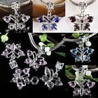Wholesale Crystal Rhinestone Dangle Butterfly Loose Beads Fit EP Charms Bracelet