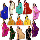 Chiffon Indian Saree Sari Bridal Heavy Sequin Embroidery Party Wear Top 13 Color