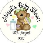 Personalised Baby Shower Circular Stickers Labels - Favours - Bear Green Bow