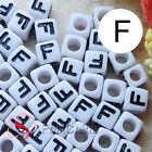 """F"" White Square Alphabet Letter Acrylic Plastic 7mm Beads 37C9129-f"