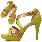 New Womens Yellow Sexy Ankle Strap High Heels Sandals Summer Shoes