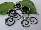 1 PAIR ORGANIC HORN ABALONE SHELL INLAY SPIRALS STRETCHER TAPER EAR PLUGS GAUGES