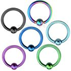 "PAIR 14g~7/16"" (11mm) Titanium Anodized 316L Captive Bead Ring (Specify Color)"
