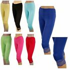 DAMEN CAPRI LEGGINGS Mit Spitze Damen Leggins Leggings Capri 3/4