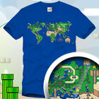 Mario T-Shirt Super Level Videospiel Video Game 8Bit retro World Weltkarte S-XXL