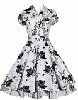 Ladies 40's 50's Vintage Style White Floral Classic Swing Shirt Dress New 8 - 26