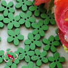 Green Flower 11mm Wood Buttons Sewing Scrapbooking Cardmaking Craft NCB046-6