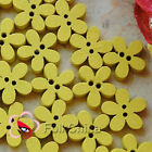 Yellow Flower 11mm Wood Buttons Sewing Scrapbooking Cardmaking Craft NCB046-8