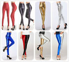 WOMENS BLACK RED WET LEATHER LOOK HIGH WAIST FULL LENGTH LEGGINGS PANTS S/M