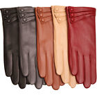 Bestselling Women's Nappa Leather Plush Lined Winter Gloves Covered Buttons