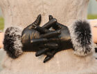 Hot sale!luxury Italian soft nappa leather gift gloves w/ 100% rabbit fur cuff