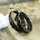 BL12 Double Flat Leather Hemp String Wrap Surfer Skater Bracelet Wristband Wrap