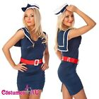 Sailor Ladies Rockabilly Pin Up Uniform Fancy Dress Up Costume Outfit + Hat