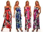 Womens Sexy Summer Maxi Dress size 8 10 12 Party Bandeau Strapless Ladies Floral