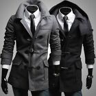 Men's Hooded Single Breasted Tweed Coats Trench Casual Slim Jackets Tops Outwear