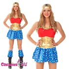Ladies Super Girl Woman Hero Costume Superhero Supergirl SuperWoman Fancy Dress