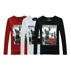 New mens cool  long sleeve top style T-Shirts soft cotton tees Black Red White