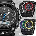 New OHSEN Army Style Dual Core Stopwatch Alarm Light Mens Boy Rubber Sport Watch