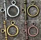 30Sets Retro Silver/Golden Round Findings Toggle Clasps For Jewelry Accessories