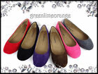 NEW WOMENS FAUX SUEDE BALLET FLAT ROUND TOE CASUAL SHOES