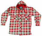 Mens 100% Cotton, Padded Shirt With Hood lumberjack check flannel warm Euro