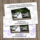 Personalised Wedding Photo Thank You Cards + Envelopes - 6 Colour Options - TL5