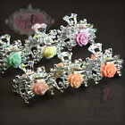 Diamante Crystal Mini Floral Flower Hair Clamps Claws Grips Wedding Bridal Prom