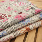 1 Meter Vintage Chic ROSE & NEWSPAPER Cotton Linen Fabric Retro