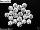 20Pcs Quality Czech Crystal Rhinestones Pave Clay Round Disco Ball Spacer Beads Glass, Czech Glass - 164375