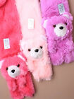 NEW SOFT FAUX FUR TEDDY BEAR SCARF - GIRLS - WINTER - PINK AND LILAC