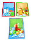 Breakfast Time Themed Cotton Tea Towels 45cm x 67cm Blue Green Red Border