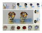Cubic Zirconia Stud Earrings - Silver plated - Nickel Free - Sizes and colors
