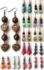 ETHNIC INSPIRED: URBAN TRIBAL BRIGHT COLOURFUL WOOD BRONZE ACRYLIC DROP EARRINGS