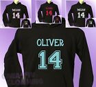 Black Hoodie Football Sports PERSONALISED with Name and Number of your choice
