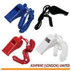 Plastic Sports Whistle with safety breaker cord - Black, Red, Blue, White *NEW*