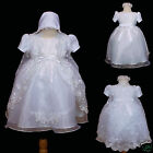 New Baby Girl Christening Baptism Formal Dress Gown  New Born to 30 months white