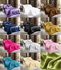 Soft Satin Pillowcase+Fitted+Flat Bed Sheet Set  Solid Color Deep Pockets New image
